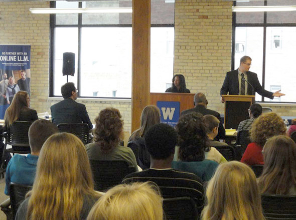 speaker and audience at mock trial event