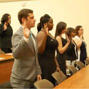 Phi Alpha Delta members being sworn into law fraternity