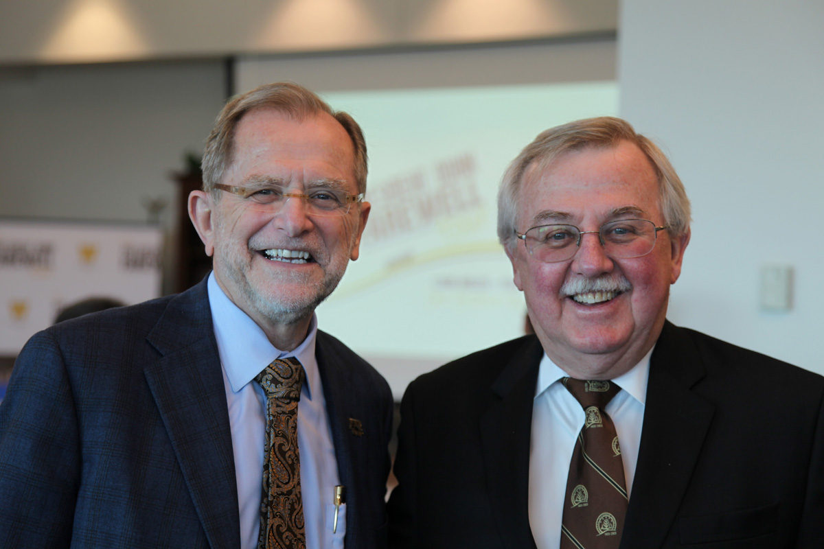 WMU President John Dunn and WMU-Cooley President Don LeDuc during President John Dunn Farewell Tour