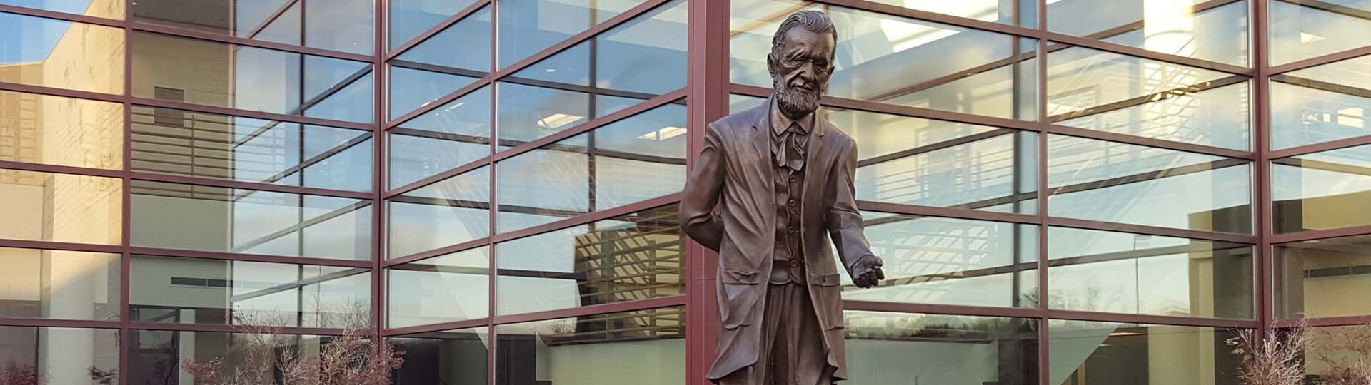 Statue of Thomas M. Cooley outside the Auburn Hills campus